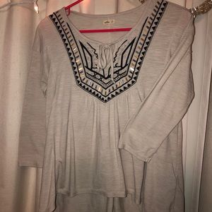 Hollister Aztec Embellished Boho top 3/4 sleeve